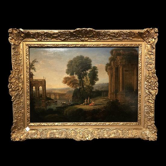 «Сельский пейзаж с пастухами на фоне руин»