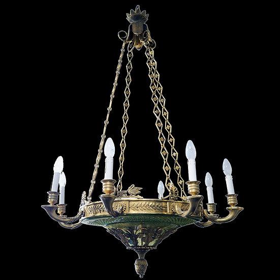 Люстра на 8 светоточек в классическом стиле с поддоном уранового стекла