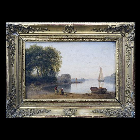 P.H. Rogers «Речной пейзаж с прачкой на берегу»