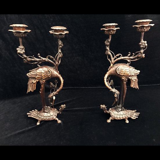 Парные канделябры на две свечи «Журавль, стоящий на черепахе»