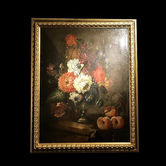 Пьетро Риччи «Натюрморт с цветами в вазе и персиками»