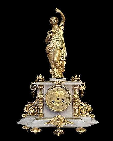 Часы каминные с женской фигурой, держащей паровоз («Аллегория путешествий»)