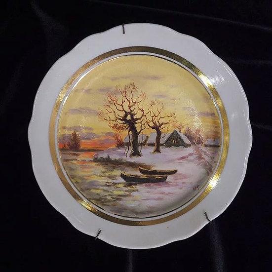 Тарелка настенная «Пейзаж с лодками»