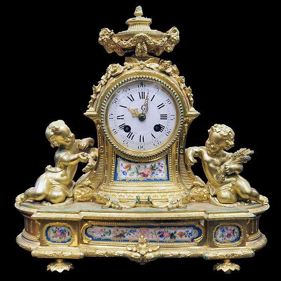 Часы каминные «Путти - лето и осень»