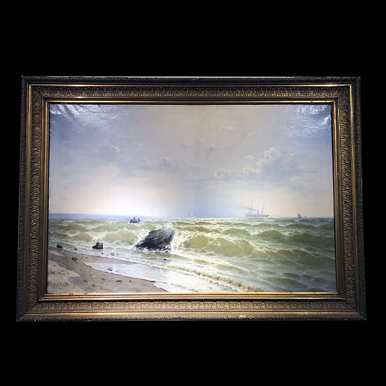 С. Баранов «Морской пейзаж с пароходом и рыбацкой лодкой»