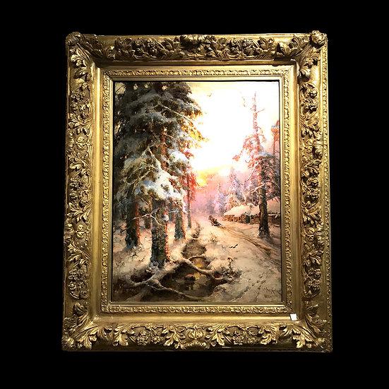 Ю.Ю. Клевер «Закат в зимнем лесу»
