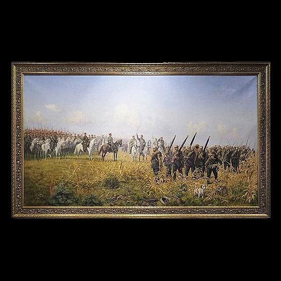 """""""После боя под Телишем 12 октября 1877 г.  Лейб-гусары отдают честь знаменам лей"""