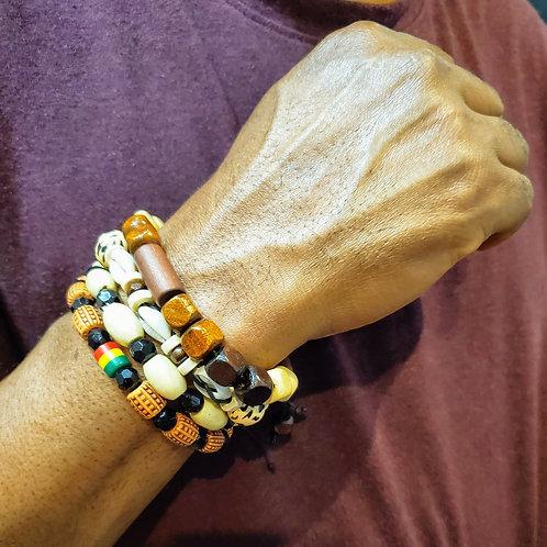 4 Pcs Wooden Beaded Bracelets for Men &  Women