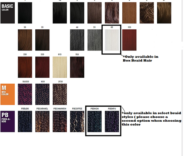 Braid Color Chart