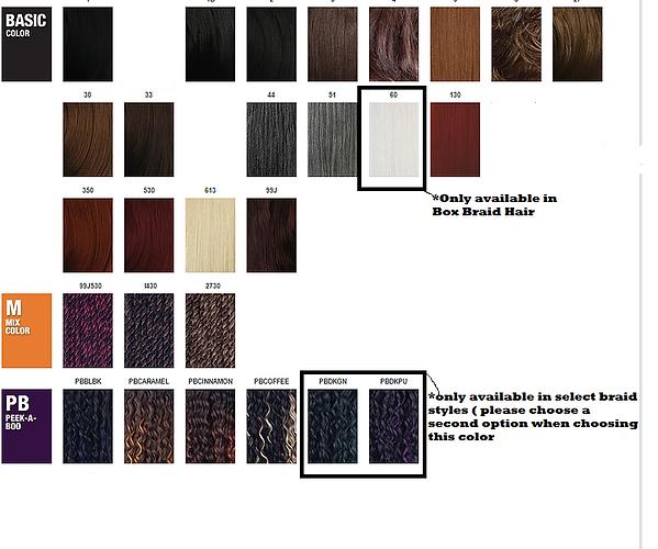 Braid Color Chart