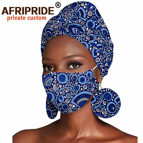 African Headwraps w/ Matching Earrings & Mask