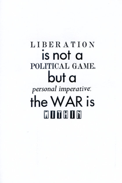 Liberation is not a political game