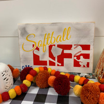 Softball life with monogram