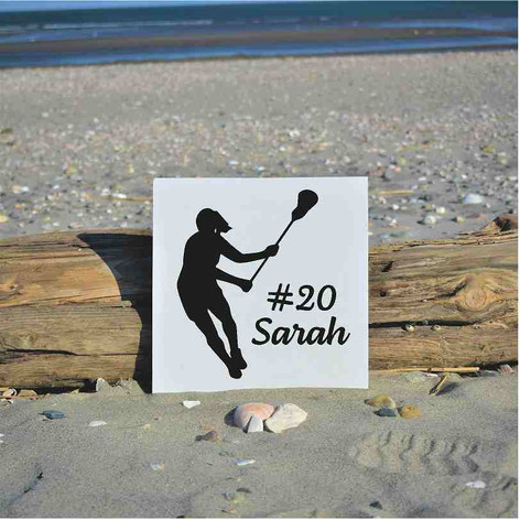 female lax silhouette with name