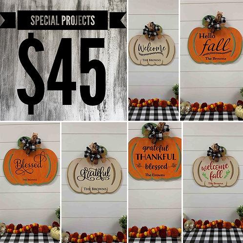 $45 Pumpkin Cut Out Signs