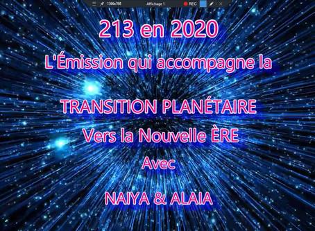 213 en 2020 l'Émission qui accompagne la transition planétaire vers la nouvelle Ère
