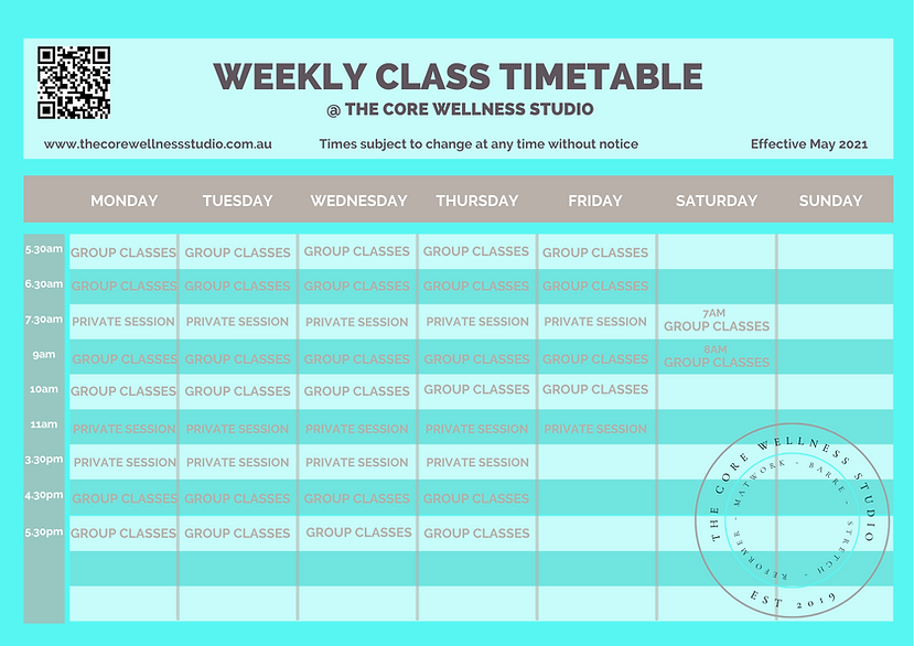 CWS weekly class timetable effective may