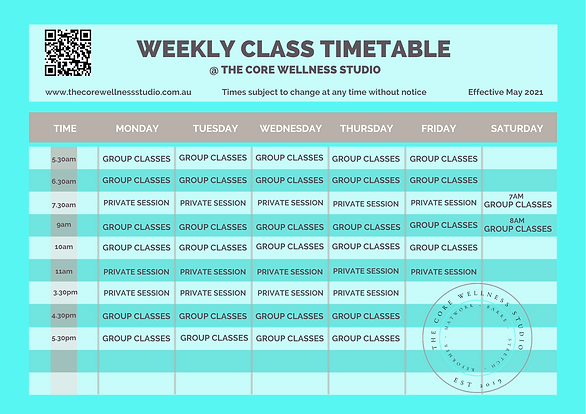 CWS weekly class timetable 2.0 effective