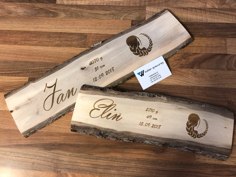 Geburtstafel aus Holz