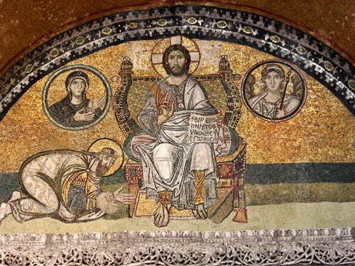 "• This mosaic above the Royal Doors of Hagia Sophia in Constantinople was commisioned to celebrate the end of the ""4th marriage controversy"" and shows Leo VI making a prostration before Christ. Leo VI was involved in the 4th marriage controversy which established the accommodations for remarriage AND he was the made-brother of the Patriarch; the accommodations for remarriage can be seen as a model for the accommodation of matrimonial brotherhood as well. Remarriages are still strictly forbidden among the Orthodox even as there is a service to bless them."