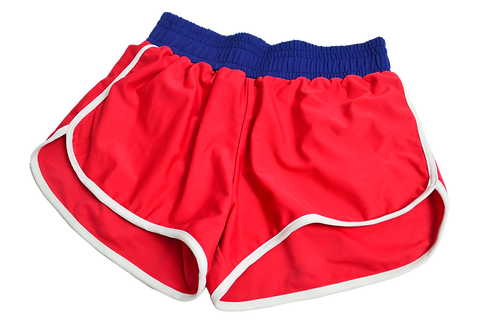 Red shorts Blue