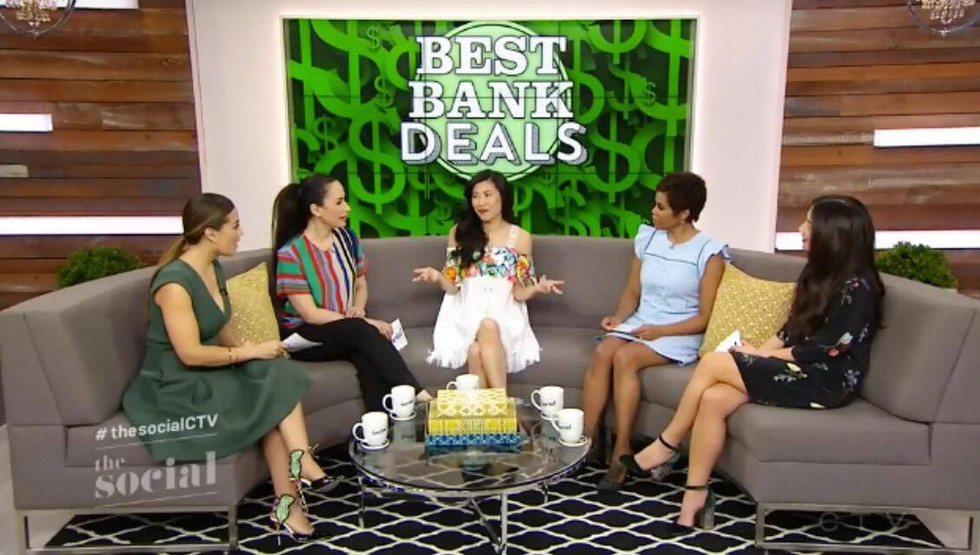 """Financial Expert Melissa Leong gracing The Social CTV in the SS 17 """"CLOVER"""" dress"""
