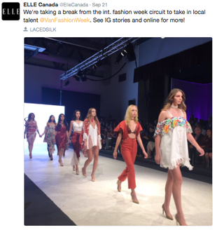 Elle Canada Magazine tweets a photo of the LACEDSILK SS 17 show at Vancouver Fashion Week