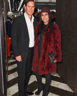 """Actress and Real Housewives of Toronto star, Grego Minot seen in FW 17 """"KNOX"""" coat at the Moncler opening in Toronto"""