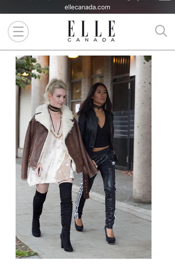 "Designer Jessie (seen in the SS 17 Pearl Dust dress) and Assistant Belina spotted in Elle Canada's post, ""West Coast Street Style from Vancouver Fashion Week"""