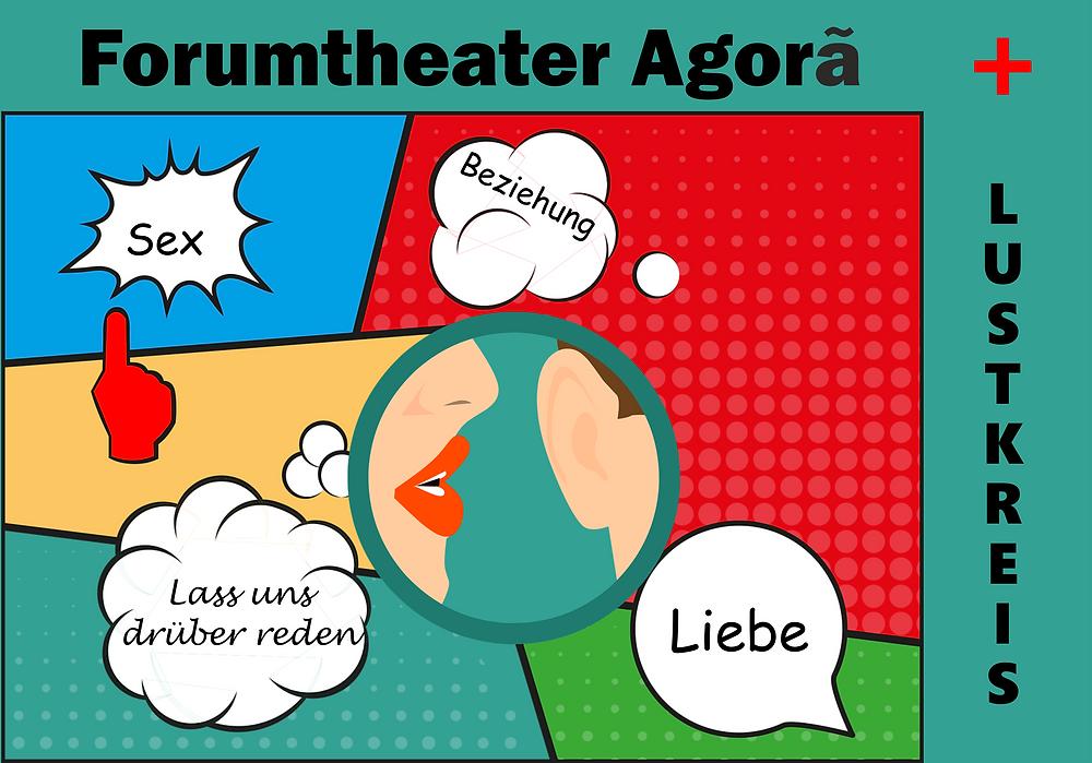 Eine Sexologin (Céline Olivier) und eine Theatergruppe (Forumtheater Agora) bringen Sexualität, Beziehungen und Liebe im Mittelpunkt auf der Bühne.