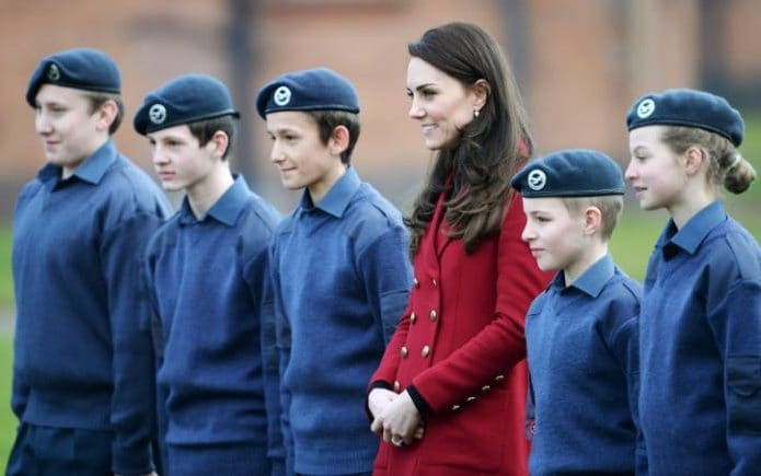 Cdt Bierton and Cdt Saunders with the Duchess of Cambridge.