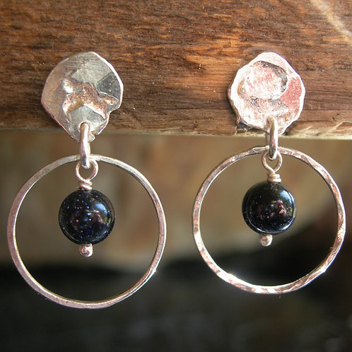 Circle earrings with goldstone