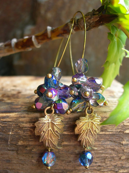 Grapes earrings. Blue and Pink