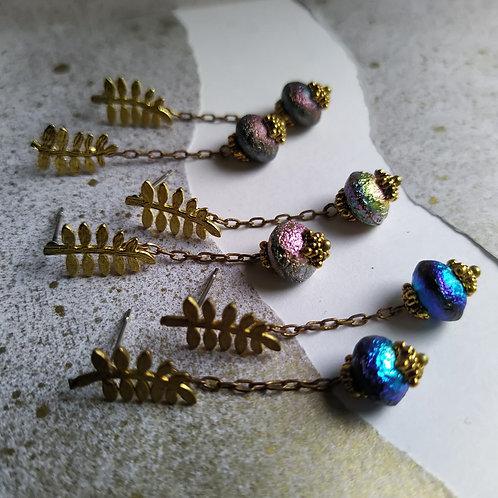 Fern stud earrings.