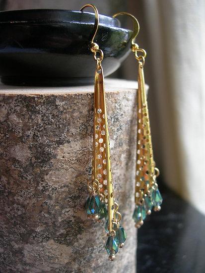 Morning Dew earrings. Green