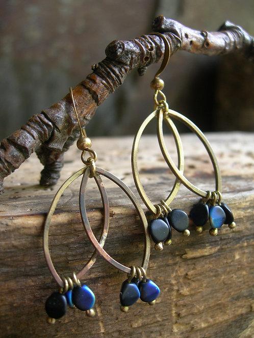 Two Leaves earrings. Blue