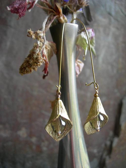 Long Calla Lily earrings. Grey