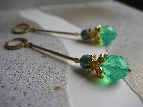 Lotus earrings. Aqua opal