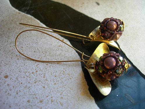 Long Wildberry earrings. Purple