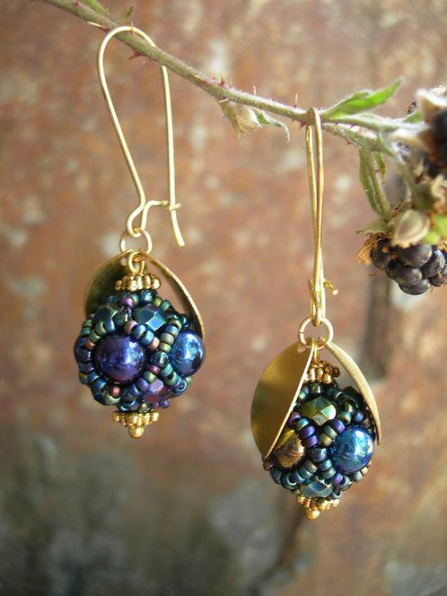 Wildberry earrings. Metallic Iris, short version