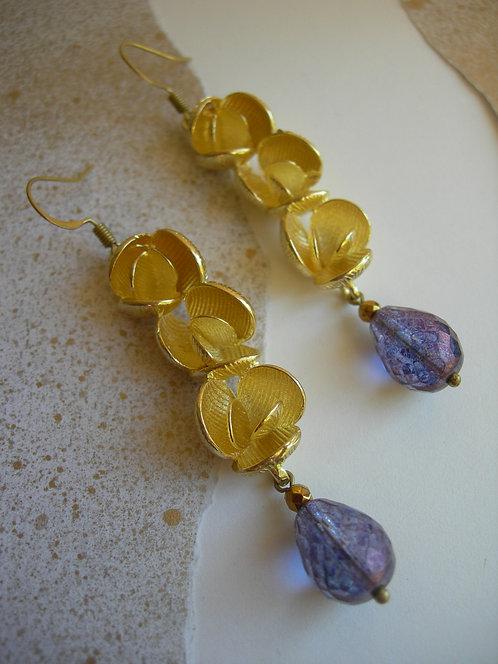 Peonies earrings. Violet