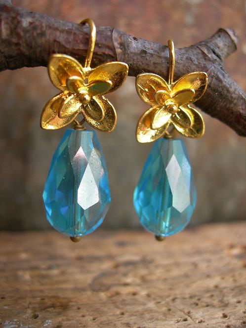 Blossom earrings. Aqua  blue