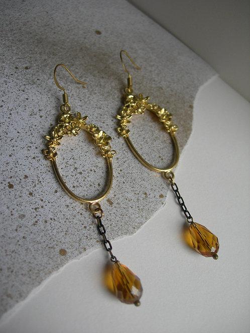 Vignette earrings. Dark yellow