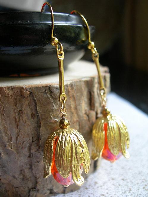 Golden Tulip earrings. Orange