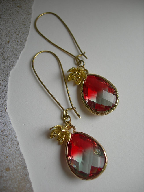 Plum earrings. Red and clear