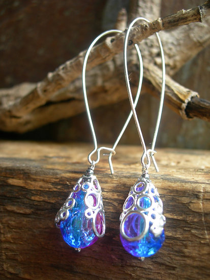 Long Bubbly earrings. Pink and blue