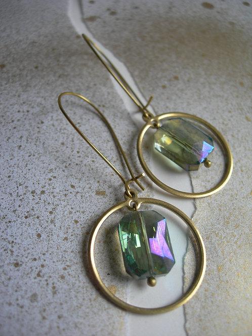 Geometry earrings. Green