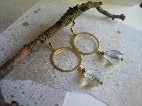 Circle with a Drop earrings. Crystal Rainbow