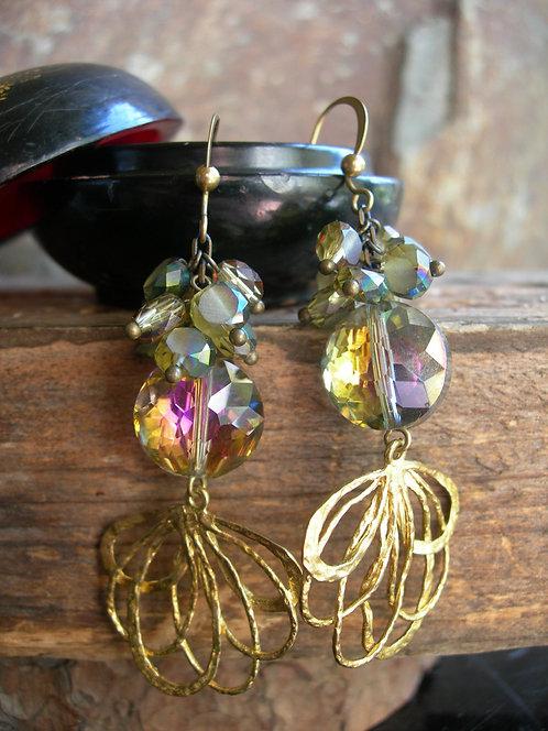 Peacock earrings. Purple gold