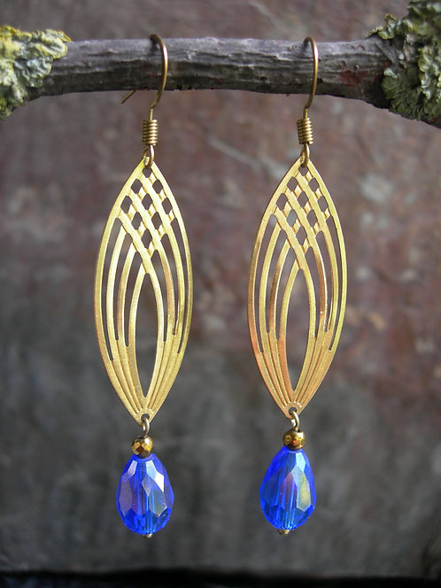 Gothic Arch earrings. Cobalt blue